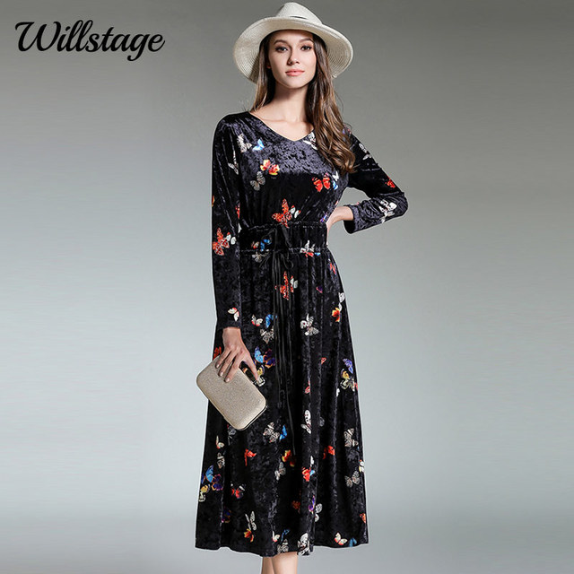 Willstage Butterfly Printed Velvet Dress Women High quality Velour Dresses  V-neck Pattern Vestidos New 2018 Spring Party Clothes 3d342c1e8708