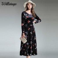 Willstage Butterfly Wydrukowano Velvet Dress Kobiety Wysoka jakość Welurowe Suknie V-neck Wzór Vestidos Nowy 2018 Wiosna Ubrania i Zabawy