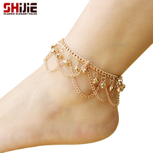 SHIJIE Boho Sexy Summer Beach Barefoot Bell Women Ankle Bracelets Anklets Love Gold color Tassel Foot
