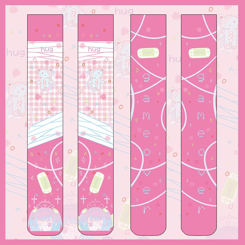 Japanese Style Anime Pattern Cute Cartoon Printed Stockings For Girls Velvet Overknee Tights Cosplay 5SW05