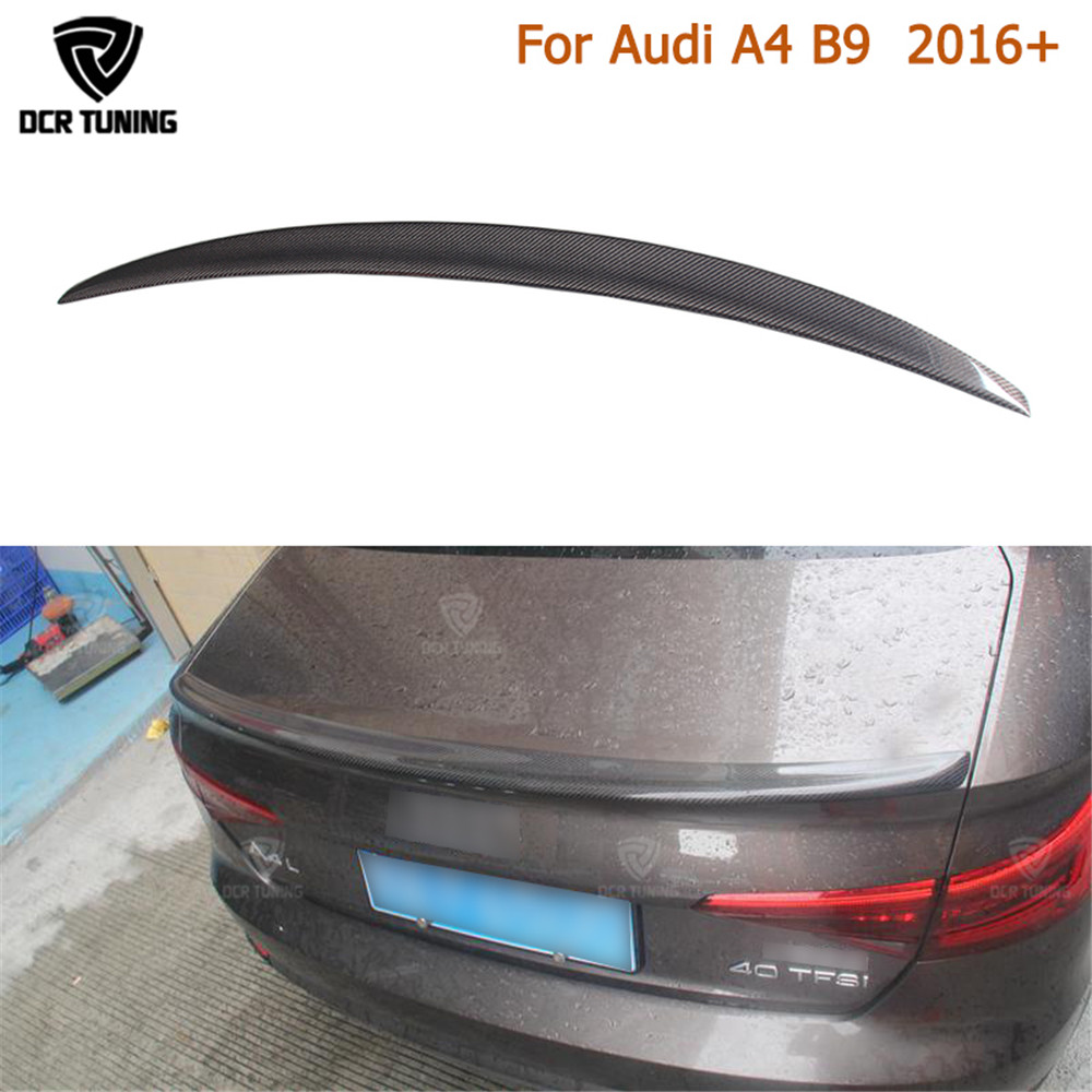 S4 style For Audi A4 B9 Spoiler 2016 2017 - UP Carbon Spoiler Rear Trunk Spoiler Carbon Fiber for A4 carbon wings