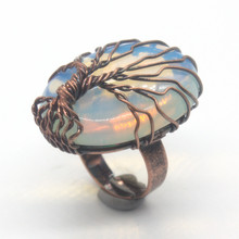 Kraft-beads New Trendy Copper Handmade Wire Wrap Oval Resizable Opalite Opal Ring For Engagement Jewelry