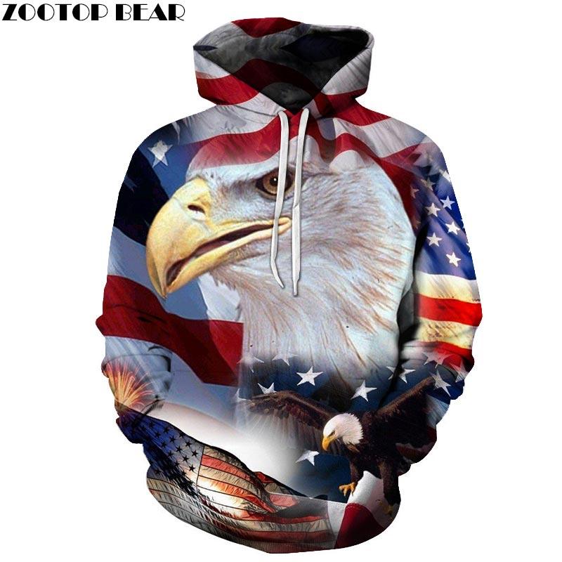 USA Flag Bird 3D Printed Spring Hoody Sweatshirts Men Tracksuit Hoodies Pullover Streetwear Cloth Unisex DropShip ZOOTOPBEAR New