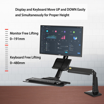 FC35 Black Desktop Sit Stand Workstation Long Arm Extension Ergonomic 22-35 inch Monitor Holder with Keyboard Tray