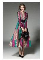 European Women Party Loose Long Leaf Printed Dress Winter Autumn Waistbelt Evening Elegant OL Female Chinese Style Dresses