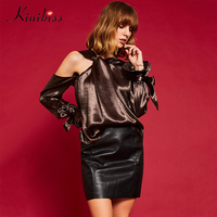 Kinikiss Lady Stain Coffee Blouses Shirts Flare Modern Elegant Cold Shoulder Irregular Tops Women Fashion Elegant