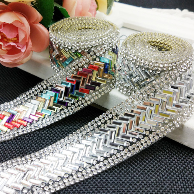 Rhinestone Tape,colorful Trimming,1yard/lot,crystal Cake Trim Crystal Rhinestone Banding,decorative Trim Rhinestone Topaz Gold