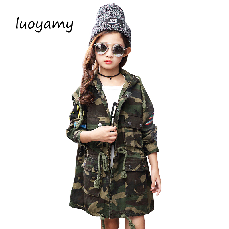 luoyamy 2017 Winter Style Girls Kids Camouflage Hooded Long Trench Coat Feminine Childrens Printed Korean Zipper Jacketsluoyamy 2017 Winter Style Girls Kids Camouflage Hooded Long Trench Coat Feminine Childrens Printed Korean Zipper Jackets