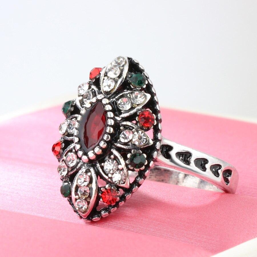 Kinel Turkish Jewelry Beautiful Flower Tibetan Antique Silver Color ...