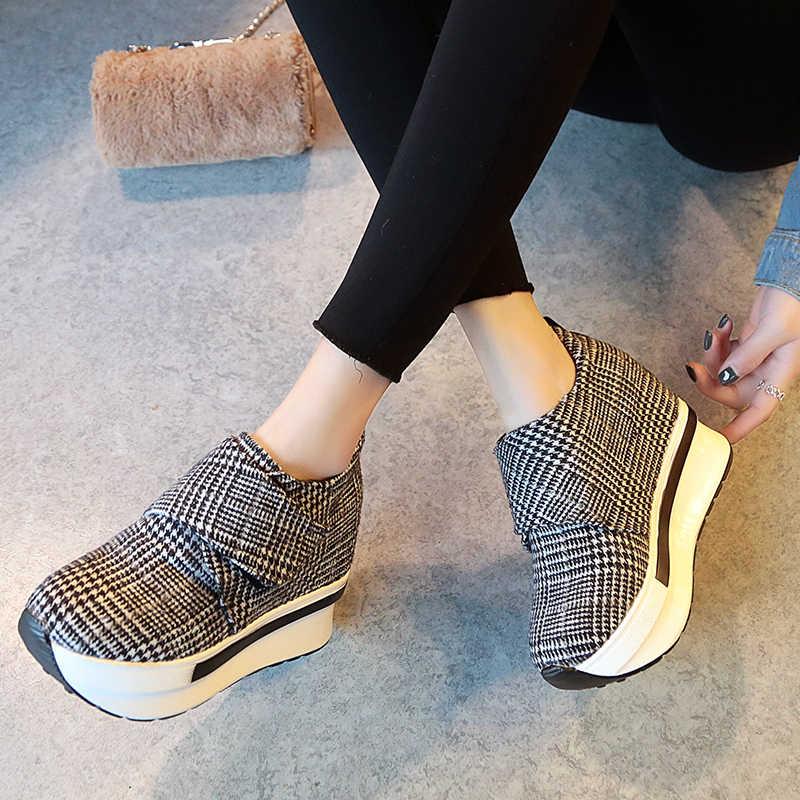 Platform yarım çizmeler Kadınlar için 2019 Ilkbahar Sonbahar Şemsiye Platform Yüksekliği Artan Ayakkabı Kadın Rahat Creepers Ayakkabı Ayakkabı