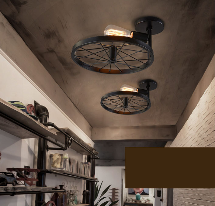 Industrial american loft vintage warehouse white iron ceiling lights lamp for dining room restaurant decoration black lighting in ceiling lights from lights