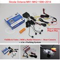 Car Parking Sensors + Rear View Back Up Camera = 2 in 1 Visual Alarm Parking System For Skoda Octavia MK1 MK2 1996~2014