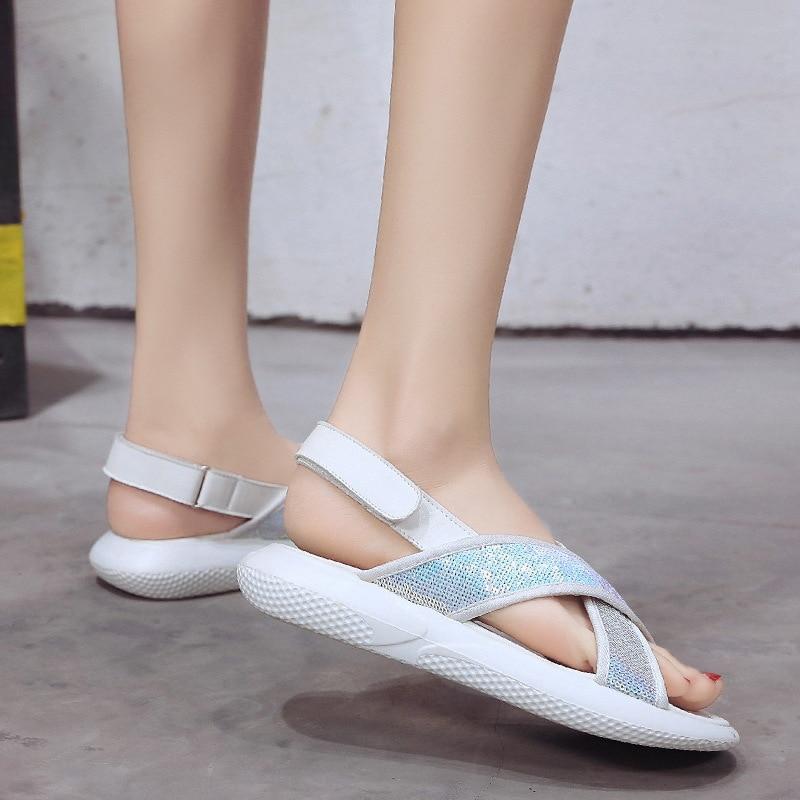 Con Grand 35 Black Hee Verano De Xwz5019 Lentejuelas Talla Mujer Deslizamiento Casuales Tela 39 white Pisos Zapatos Gladiador Sandalias En xCw0tqZURq