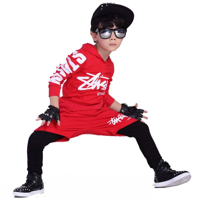 Jazz dance boys clothes kids hip hop clothing  Kids Suit black,red hooded Long Shirt + Pants Sweatshirt Casual Clothes