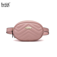 BRIGGS Brand New Fashion High Quality Fanny Pack Waist Bag Women Wave Pattern Belt Bag Luxury Brand PU Leather Chest Handbag chest bag velvet women rivets sequined lions beetle handbag luxury brand fashion high quality leather bags wholesale dropship