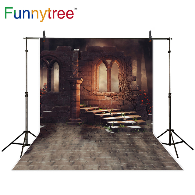 Funnytree background for photo studio dark scenery old ruins rose brick ancient backdrop photography photo shoot photocall