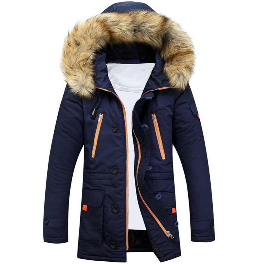 Mens Winter Fur Collar Lining Thick Parka Overcoat Padded Trench Jacket Coat  -  Best Distributor & r Mall store