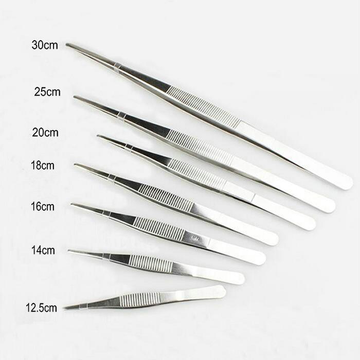 7 Different type/set Thicken stainless steel Tweezers 125/140/160/180/200/250/300mm with round head non-slip design candino c4542 1