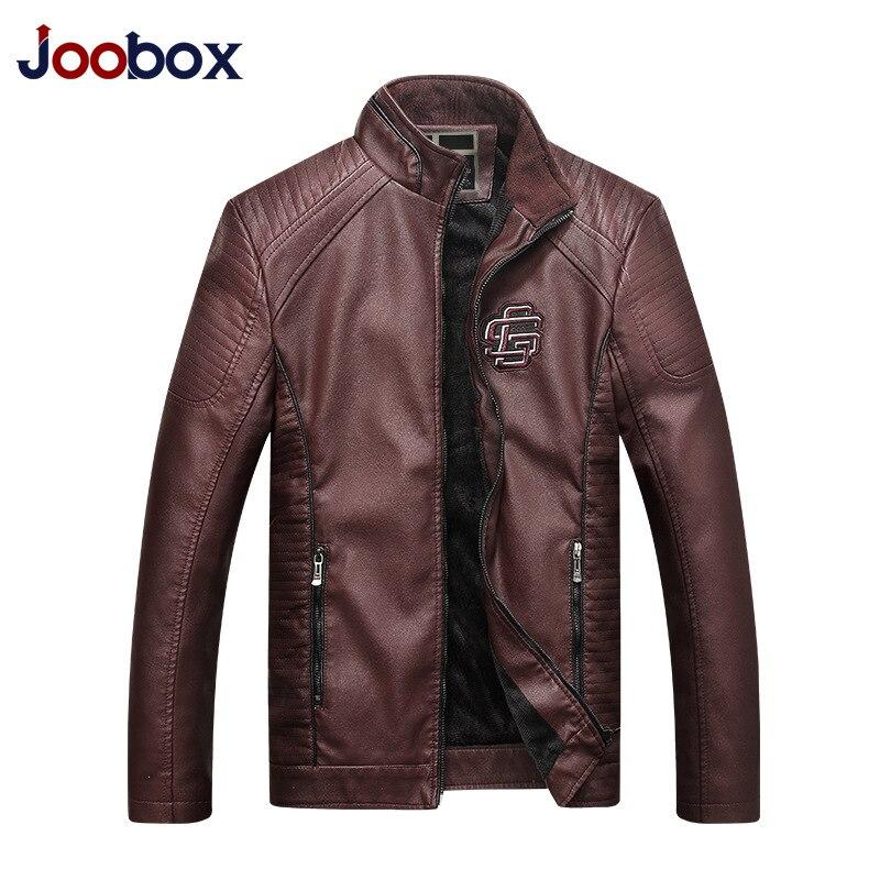 JOOBOX 2018 New Men Leather Jacket Spring Autumn Fashion High Quality PU Casual Biker Jacket Male Outerwear & Coats XL 2XL 3XL