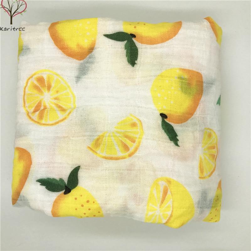 Lemon Muslin Blanket  Baby100% Muslin Cotton Single Layer Baby Towel Newborn Blanket Baby Swaddle Infant Wrap 120x120cm 150g