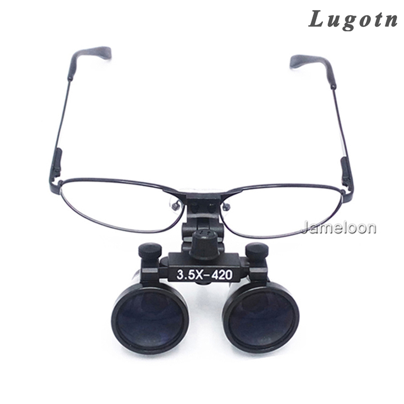 3.5X magnification ENT medical dental loupe metal frame replaceable myopic near sighted glasses surgical operation magnifier medical instrumentation head ent checker otoscope eye ophthalmoscope ear throat dental inspection ophthalmoscope vocal cord set