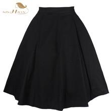 2017 Nueva Moda Negro Falda Mujeres de Cintura Alta Más El Tamaño Floral Polka Dot de impresión de Las Señoras Faldas de Verano 50 s Vintage Midi Falda VD020
