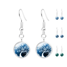 Cute The Tree of Life Glass Cabochon Statement Earrings Women Jewelry Fashion Silver Plated Long Dangle Earrings For Women HOT