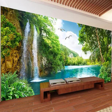 Пользовательские 3D настенные росписи обои домашний декор Зеленый Горный водопад природа пейзаж 3D фото обои для гостиной спальни