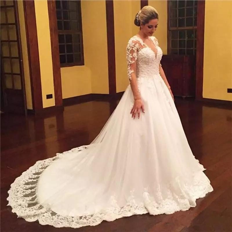 Mrs Win Long Sleeve V-neck Vestido De Noiva Sexy Lace Wedding Dress 2020 Train Custom-made Plus Size Bridal Tulle Mariage