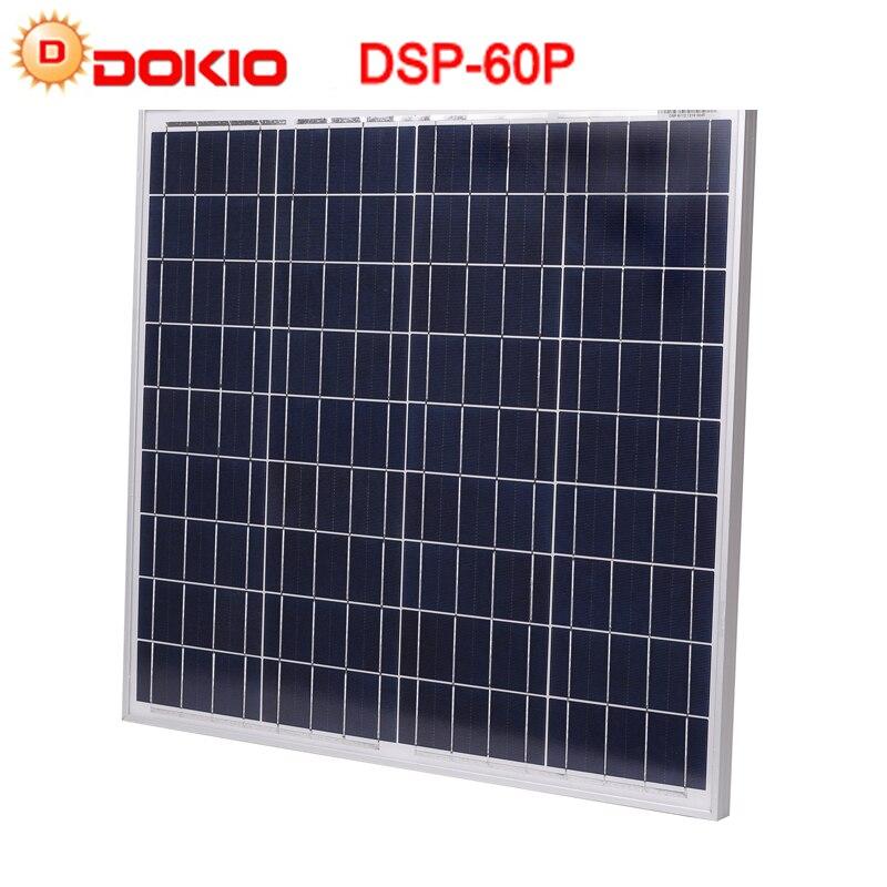 DOKIO Marque 60 w 18 Volts Panneau Solaire 10A 12/24 Volt Contrôleur 60 Watt Solaire Panneaux usb celdas fotovoltaicas policristalinas