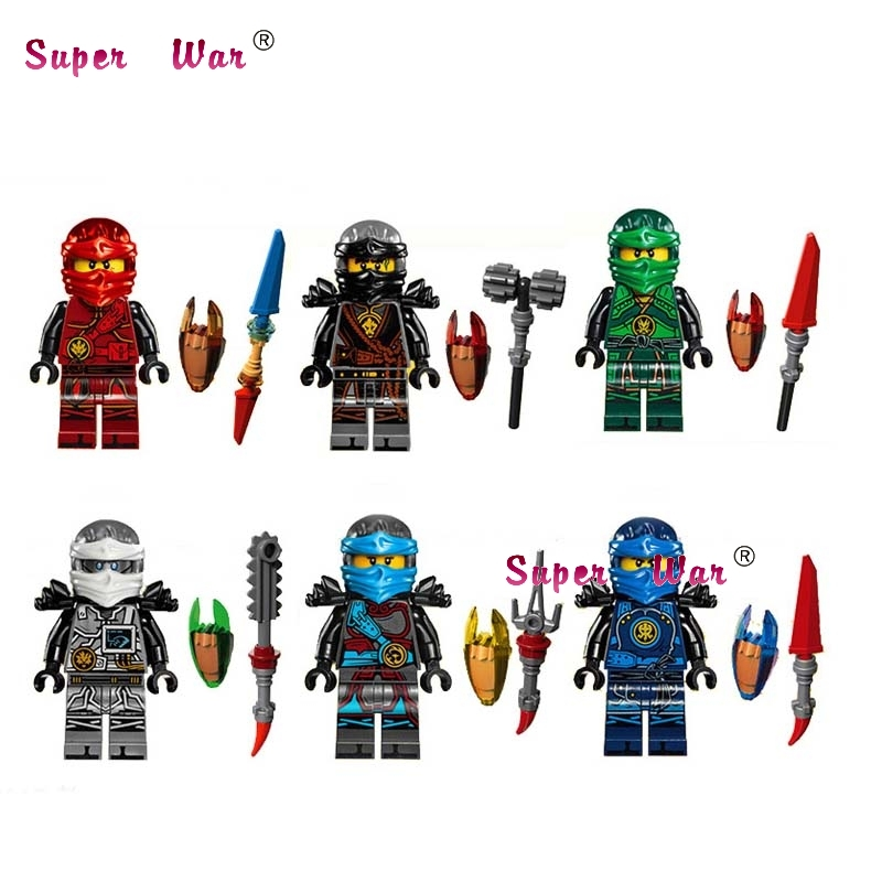 6PCS DECOOL Ninja Weapon Kai Cole Jay Zane Lloyd Nya building blocks lepin action  set model bricks Baby toys for children 2017 new single ninja movie nadakhan dogshank kai jay cole zane nya lloyd building brick toys x0112 x0118