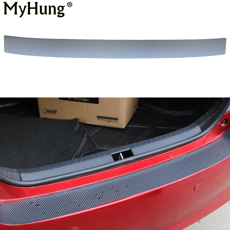 Auto Car Rear Bumper Sill Protector Plate Carbon Fiber Cover Sticker For Hyundai Elantra2012 Verna IX25