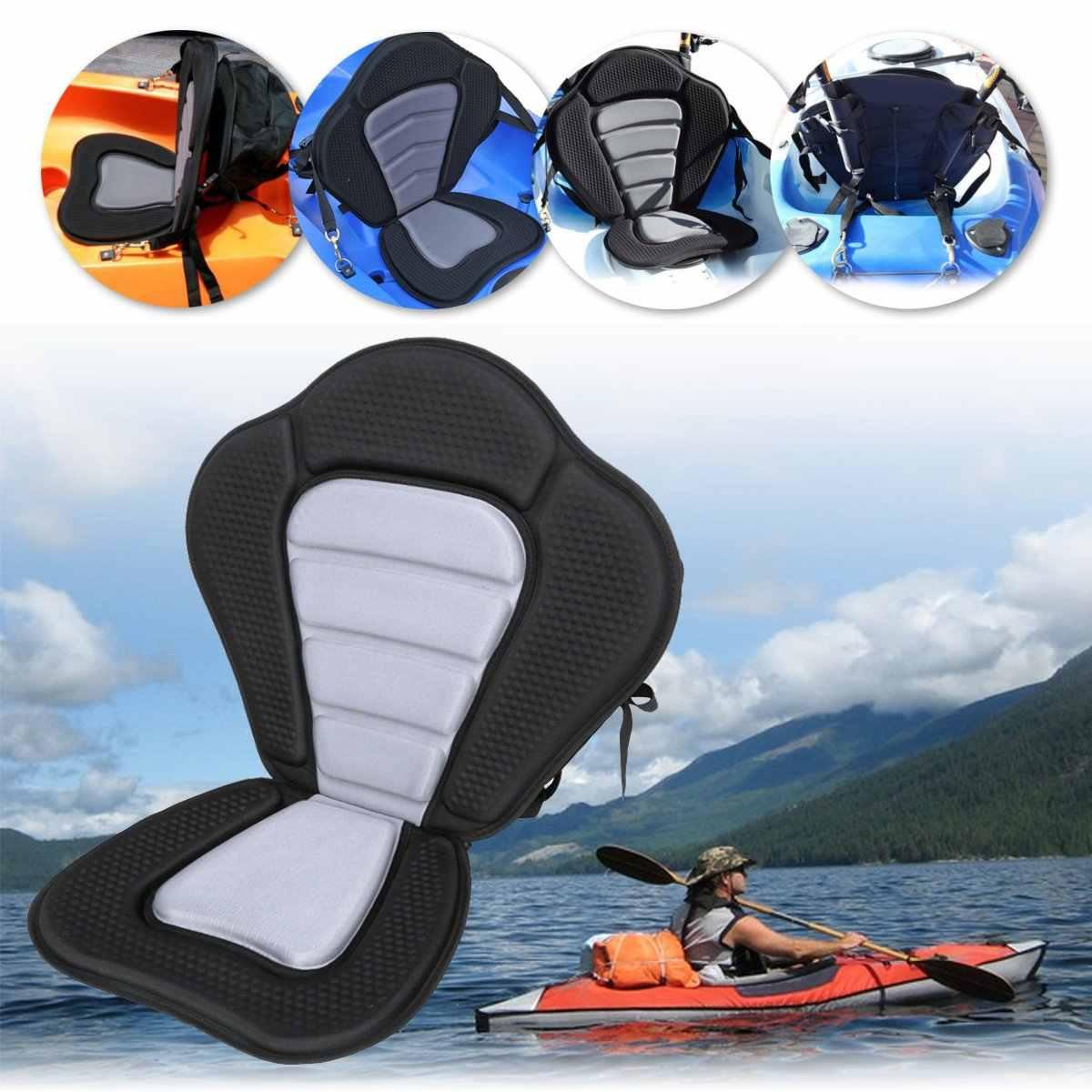 カヤッククッションデラックスパッド入りカヤック/ボートシートポータブル滑りパッド入りベース調節可能な高背もたれバッククッションカヌー