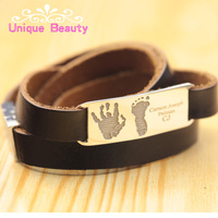 Wholesale 925 Sterling Silver ID Bracelet Engraved Your Hand Foot Print Stack Leather Chain Personalized Mens