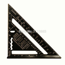 7inch/180mm Black Aluminum Alloy Speed Square Roofing Layout Tool Triangle Angle Protractor for Carpenter