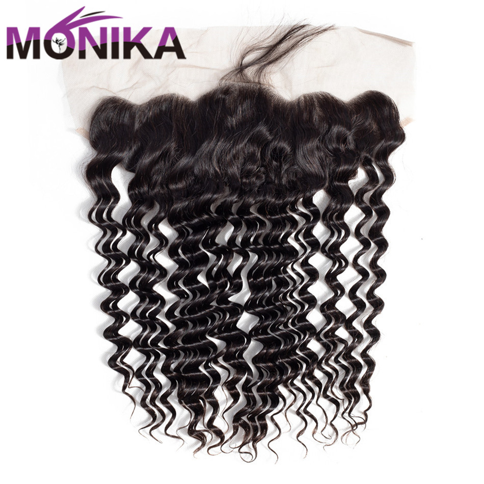 Monika Brazilian Hair 13x4 Pre Plucked Frontal Ear to Ear Lace Deep Wave Frontal Closure With Natural Color