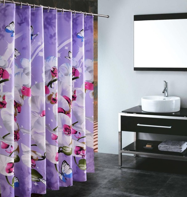 New High Quality Purple Butterfly Orchid Polyester Shower Curtain Waterproof Home Bathroom Curtains Thicken