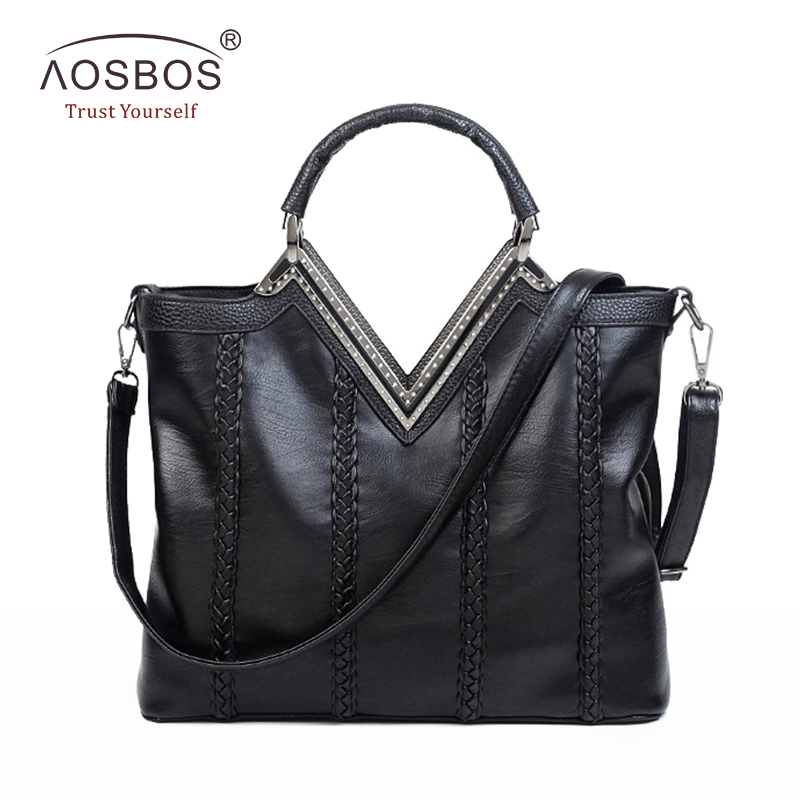 Aosbos Fashion Women PU Leather Handbags High Quality Solid Diamond Shoulder Bags Long Strap Zipper Black Handbag for Ladies original intention elegant women ankle boots platform round toe thin heels boots black white red shoes woman plus us size 3 16