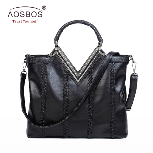 Aosbos Fashion Women PU Leather Handbags High Quality Solid Diamond Shoulder Bags Long Strap Zipper Black Handbag for Ladies