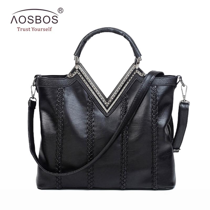 Aosbos Fashion Women PU Leather Handbags High Quality Solid Diamond Shoulder Bags Long Strap Zipper Black Handbag for Ladies