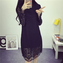 Top Selling White Black Lace dress Party Evening Elegant work wear Bodycon bandage dress Long Sleeve sexy hollow out dress kleid