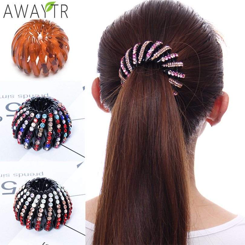Fashion Women Bun Crystal Hair Claw Horsetail Buckle Hair Clip Bird Nest Expanding Hair Accessories Female Ponytail   Headwear