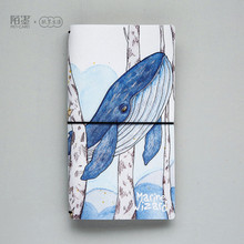 PU Leather Cover Planner Notebook Whale Travel Journal Diary Book Exercise Composition Binding Note Notepad Gift Stationery