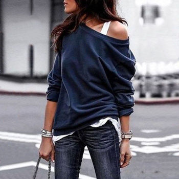 2018 New Fashion Women Blouse Casual one shoulder skew collar Long Sleeve Solid Cotton Shirt Top Tunic Blusas Mujer XL