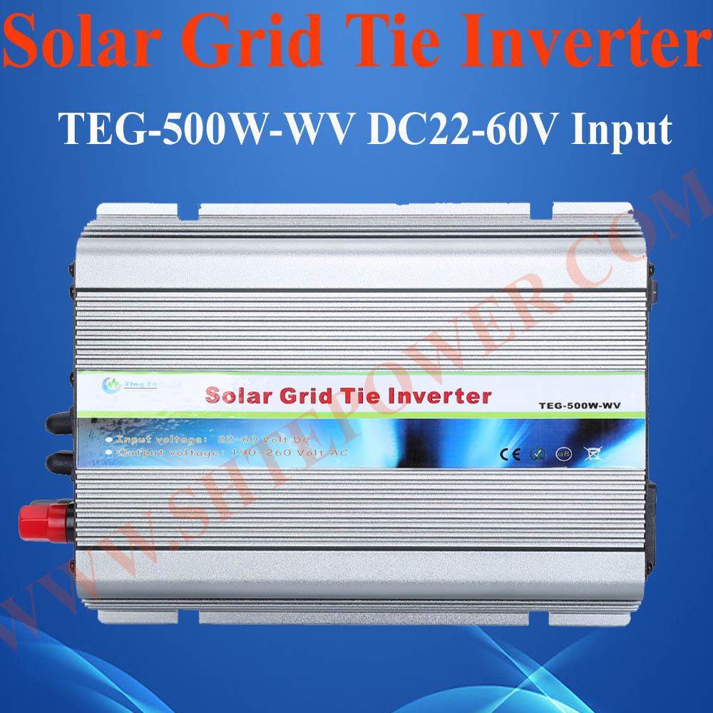 24V 500W solar inverter, 500W tie grid solar power converter, 24v dc to 120vac inverter 500w micro grid tie inverter for solar home system mppt function grid tie power inverter 500w 22 60v