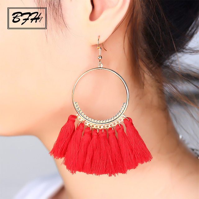 BFH Fashion Bohemian Long Earring for Women Girl Wedding Party Charm Large Circl