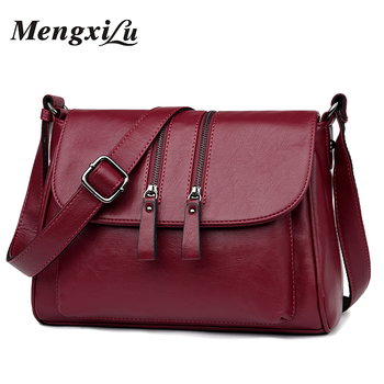 2018 New Double Zipper Women Messenger Bags Soft Women Crossbody Bag Designer Women Pu Leather Handbags High Quality Female Bags