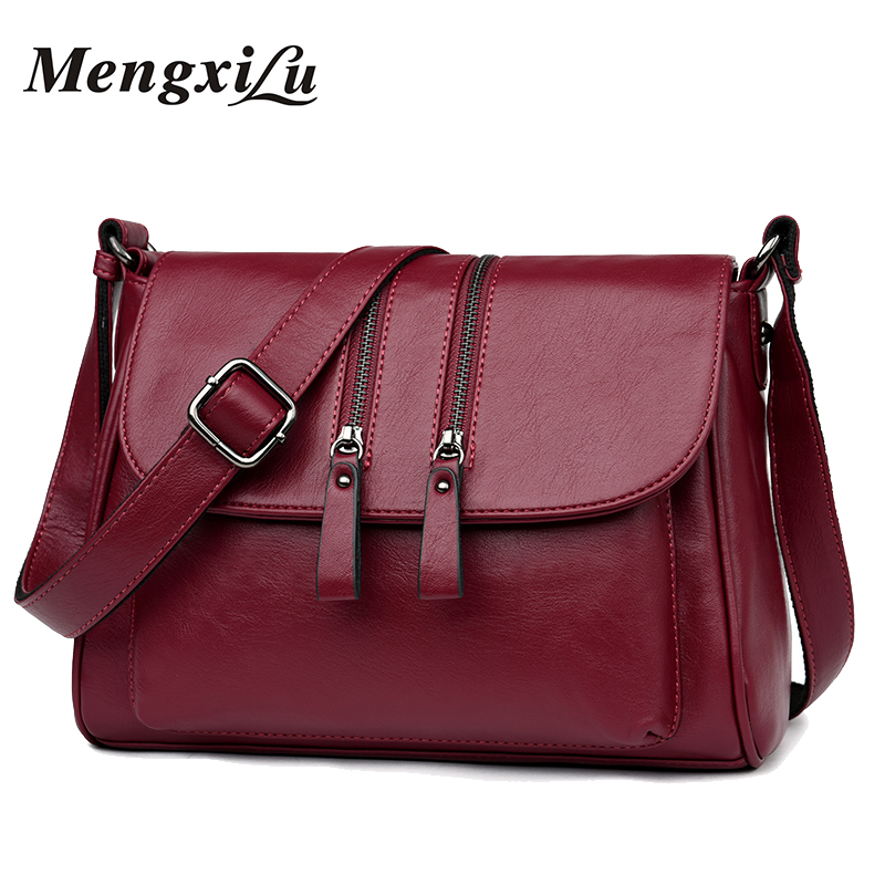 2018 New Double Zipper Women Messenger Bags Soft Women Crossbody Bag Designer Women Pu Leather Handbags High Quality Female Bags new fashion brand designer handbags ladies shoulder bags zipper women bag soft pu leather women messenger bags