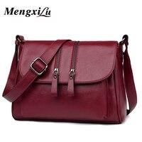 2018 New Double Zipper Women Messenger Bags Soft Women Crossbody Bag Designer Women Pu Leather Handbags