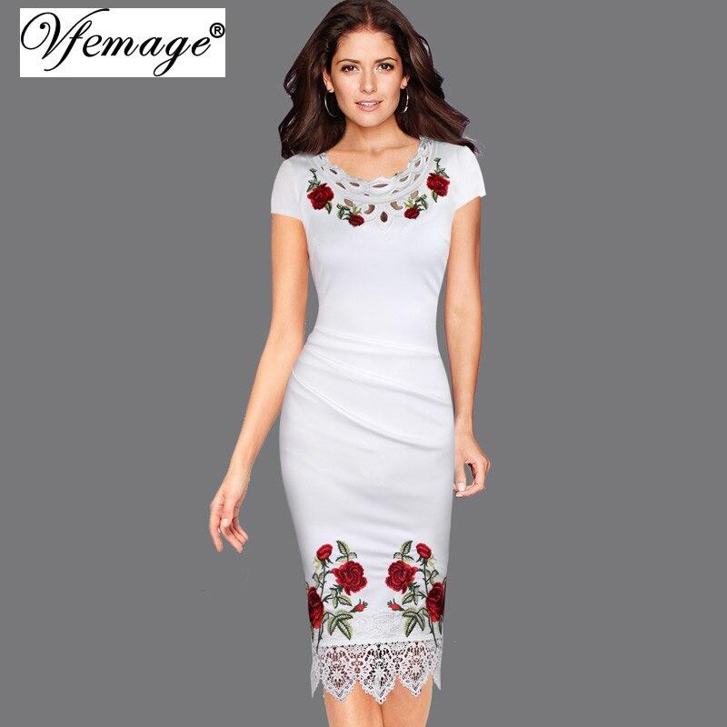 Vfemage женщин элегантный вязание крючком кружева вышивки цветок повседневная вечера партии мать невесты особых поводов bodycon dress 4265